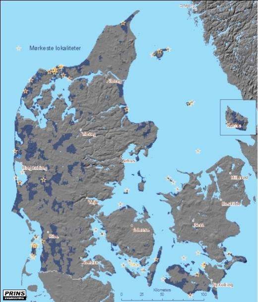 Danmarks mørkeste steder er markeret med en stjerne på dette kort fra Prins Engineering.