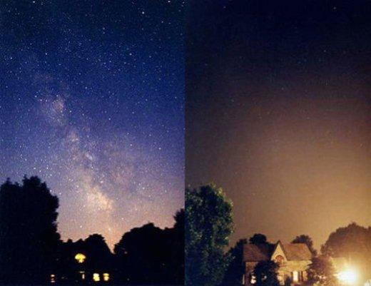 Stjernehimlen uden (t.v.) og med (t.h.) lysforurening.