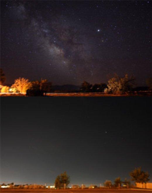 Stjernehimlen uden (øverst) og med (nederst) lysforurening.